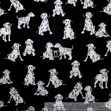 BonEful Fabric Cotton Quilt Black White B&W Dalmatian Puppy Dog 101 Movie SCRAP