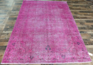 """7'x10'5"""" Flat weave pinkish Hand-Knotted Antiqued Over Dyed Tabrizz Oriental rug"""