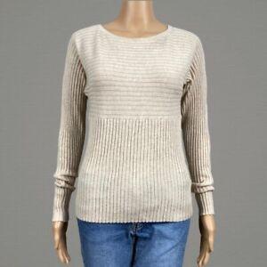 Athleta Hayes Ribbed Merino Wool Pullover Sweater XS Beige Tan Dolman Sleeves