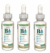 3 Pack Nature's Bounty Sublingual Liquid B-Complex with B-12 Fast Acting - 2 oz