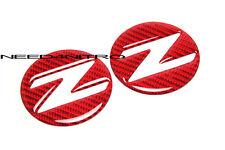 For 03~09 Nissan 350Z Z33 Fairlady Z Red Carbon Fiber Side Fender Emblem Decals