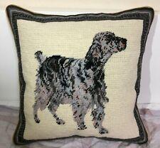 "English Setter Dog 100% Wool Petite Needlepoint Pillow 14"" Square"