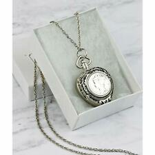 American Coin Treasures Heart Watch Coin Pendant Necklace w/ Silver Mercury Dime