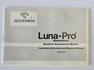 Gossen Luna-pro Electronic System Exposure Meter Instructions Manual - English