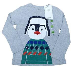 MARKS & SPENCER Kids Unisex Long Sleeved Cotton Penguin Tee Shirt Grey 3-4 Years