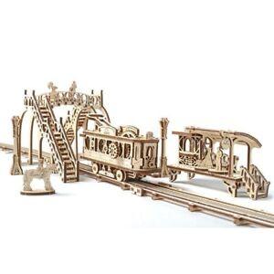 Mechanical UGEARS wooden 3DModel Tram Line with bridge platform Construction Set