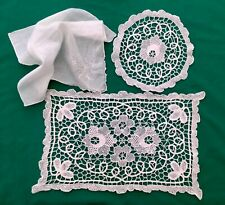 CROCHET TRAY CLOTH, DOILY, & HAND ROLLED LADIES HANKY ALL VINTAGE