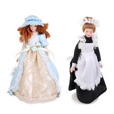 Bambole di porcellana di casa delle bambole Vittoriana Lady Servant In Dress