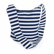 Navy and White Stripe Nautical Cross Body Slouch Messenger Shoulder Bag Festival