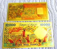 "ALGERIE ★ 2 BILLETS POLYMER  "" OR "" COULEURS 5000 + 10000 FRANCS ANNEES 60 ★ 4"