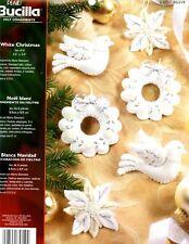 Bucilla White Christmas ~  6 Pce Felt Ornament Kit #85319 Dove Poinsettia Wreath