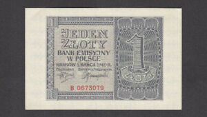 1 ZLOTY EXTRA FINE-AUNC BANKNOTE FROM GERMAN OCCUPIED POLAND 1940 PICK-91