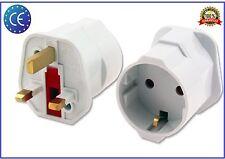 European Euro EU Schuko 2 Pin to UK 3 Pin Plug Adaptor Travel Mains Adapter