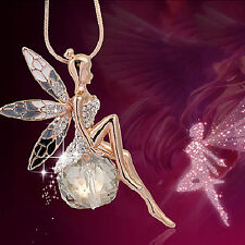 Women Crystal Fairy Angel Wing Pendant Long Chain Fashion Sweater Necklace