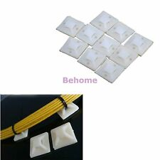 20 x White 20 X 20MM CABLE TIE WRAP BASE SELF ADHESIVE 4 WAY MOUNTS ZIP TIES