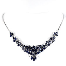 GENUINE AAA BLUE SAPPHIRE OVAL STERLING 925 SILVER NECKLACE LENGTH 18.5 INCH.