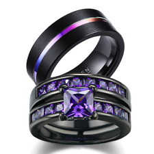 loversring Couple Ring Bridal Set His Hers Women Black Gold Plated Cz Men Ring