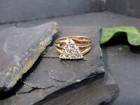 Moderner 925 Silber Ring DQCZ Zirkonia Dreieck Vergoldet Designer Modern Elegant