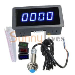 4-Digital LED Tach RPM Speed Meter W/ Hall Proximity Switch Sensor Tachometer