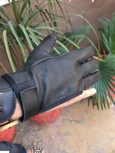 ARCHERS LEATHER SHOOTING 4 FINGER GLOVE CHOCOLATE BROWN & BLACK - HUNTING GLOVES