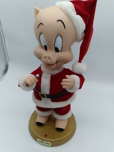 "Singing Porky Pig ""Blue Christmas"" Animated Looney Tunes Rare Gemmy 2002 SANTA"
