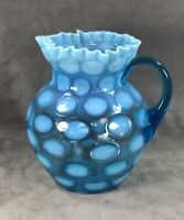 Fenton Blue Opalescent Coin Dot Water Pitcher