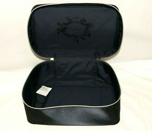 "ESTEE LAUDER NAVY BLUE SATIN TRAIN CASE MAKE UP BAG W HANDLE 12""x7""x6"""