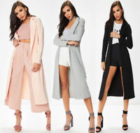 New Womens Celeb Inspired Long Sleeve Collared Slinky Duster Coat Jacket UK 8-14