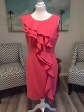 Calvin Klein Stunning Pink Frilled Dress Size Uk 10-12 (USA 8)