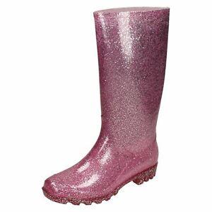 Ladies Spot On Glitter 'Wellingtons'