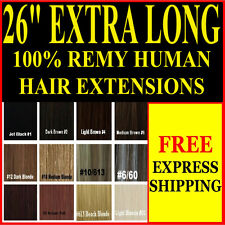 """EXTRA LONG FULL HEAD 26"""" INCH CLIP IN 100% REMY HUMAN HAIR EXTENSIONS"""
