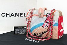 Auth CHANEL Multicolor Quilted Canvas Arc De Triomphe Tote Hand Bag Purse #29238