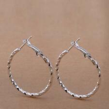 """Pretty New Silver Plated Faceted Twisted Rope Design 1"""" Round Hoop Earrings"""