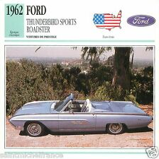FORD THUNDERBIRD SPORT ROADSTER 1962 CAR VOITURE UNITED STATES CARTE CARD FICHE