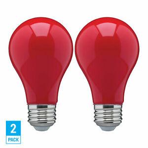 2 Pack CERAMIC RED LED Bulb A19 Medium E26 8W 60 Watt Equivalent Damp Location