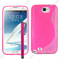 Housse Etui Coque Silicone S-line Gel Rose Samsung Galaxy Note 2 N7100 + Stylet