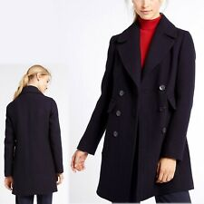 M&S Wool Blend TAILORED Double Breasted PEA COAT ~ Size 10 ~ NAVY BLUE (rrp £99)