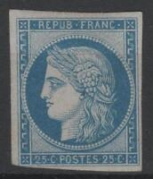 "FRANCE YVERT SCOTT 4 d  "" CERES 25c BLUE 1862 "" MH VF SIGNED  P275"