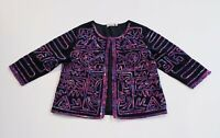 Choices Women's Jacket Blazer Black W/ Pink & Purple Abstract Cotton Size Large