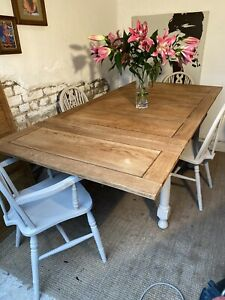 7 Foot Antique Oak Extending Farmhouse Refectory Dining Table And Chairs Refurb