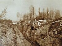 ORIGINAL- WW1 GERMAN LONG TRENCH AT THE FRONT IN FRANCE PHOTO POSTCARD RPPC