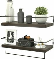 Floating Shelves for Wall Set of 2, Rustic Wood Wall Mounted Decor Storage Brown