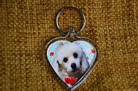 Poodle Dog Gift Keyring Dog Key Ring heart shaped gift Xmas Mothers Day Gift