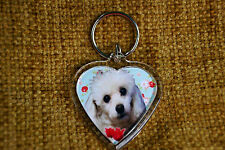 Poodle Dog Gift Keyring Dog Key Ring heart shaped gift Free UK Postage Valentine