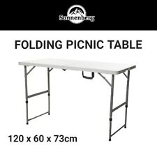 120cm Folding Camping Table Outdoor Picnic BBQ Event Portable Height Adjustable