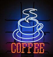 "17""x14""COFFEE Cup Neon Sign Light Shop Open Handmade Visual Artwork Wall Deocr"
