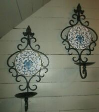 Vtg Pair Iron Candle Holders Plant Holders Wall Sconces blue floral tile backs