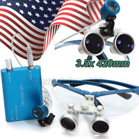 Dental Surgical Binocular Loupes 3.5x 420mm Optical Glass +LED Head light USA
