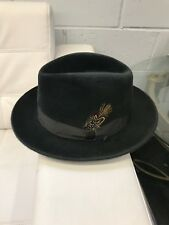 SELENTINO GALAXY 100% GENUINE VELOUR FUR FELT FEDORA HAT CHARCOAL GRAY 56 7