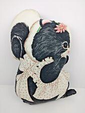 """Vtg 70s Skunk Cotton Fabric Pillow Cut N Sew 16"""" Tall Stuffed"""